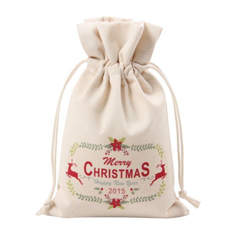 Osman Unik Besar Natal Hadiah Tas Rumah Pesta Antik Drawstring Tas Hadiah Kanvas 5 #