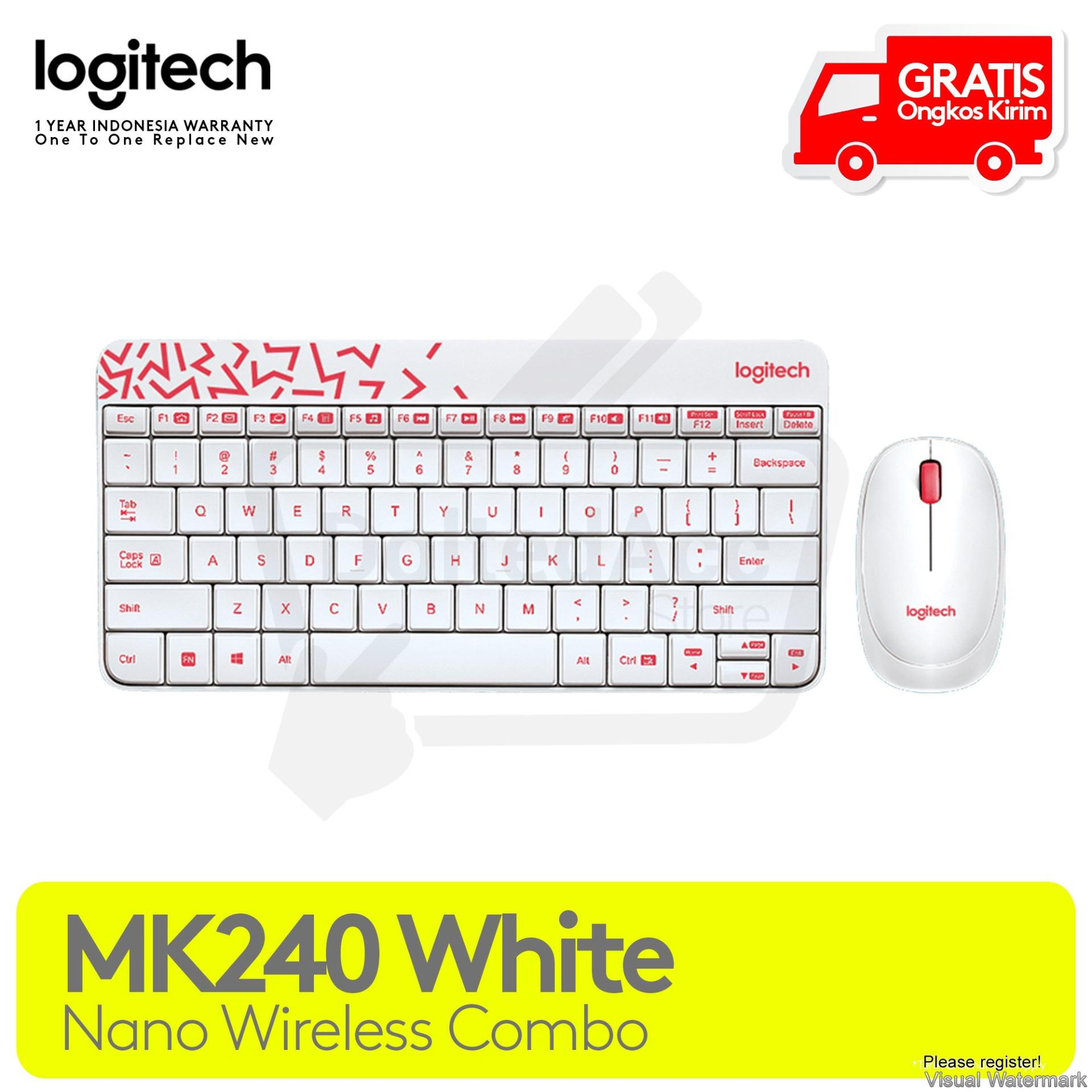 Logitech MK240 Nano Wireless Keyboard and Mouse Combo - Putih