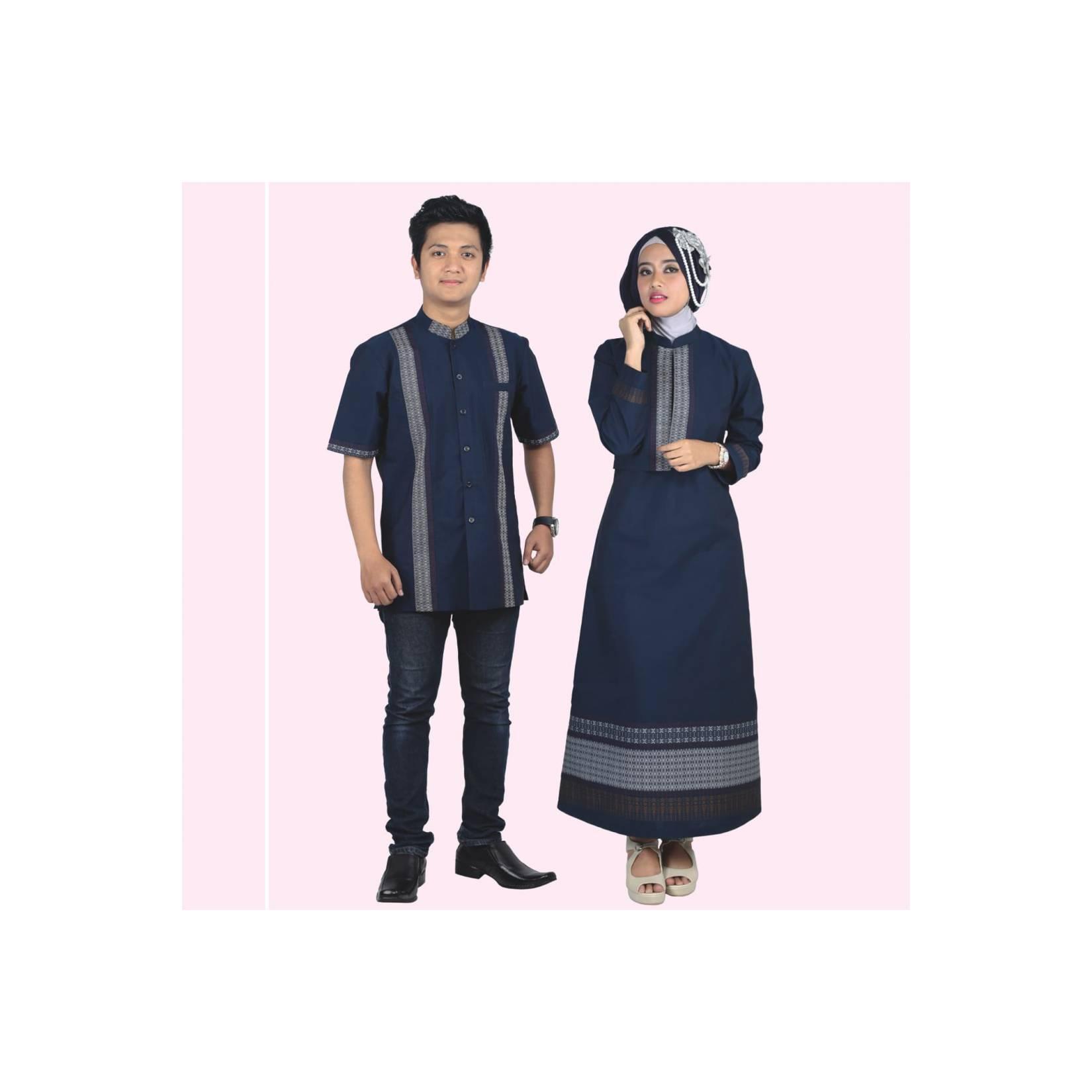 Baju Muslim Modern Terbaru Gamis Koko Couple Anak Pria Wanita Biru