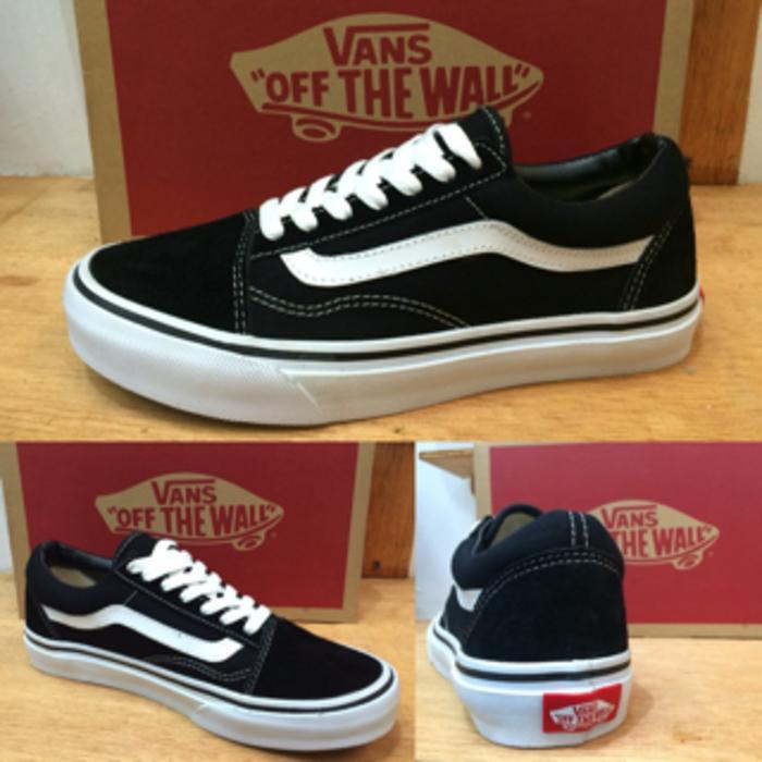 Sepatu vans oldskool black white original waffle DT - Hitam, 40 - Sepatu Pria Terbaru - Sepatu Pria