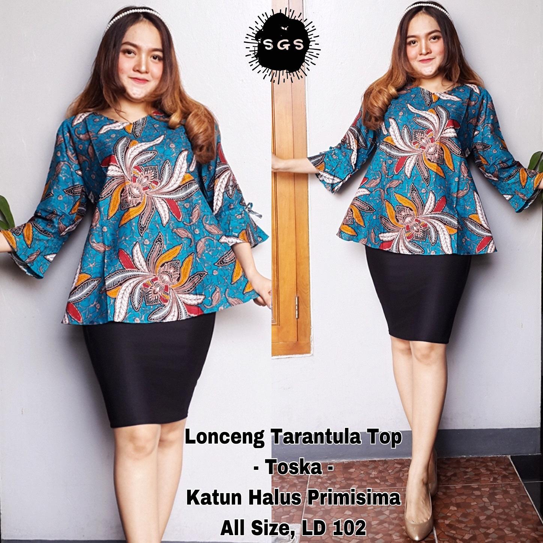 Atasan Blouse Batik Wanita - Blus Kerja Lengan Panjang - Blouse Batik Premium Tarantula Tosca