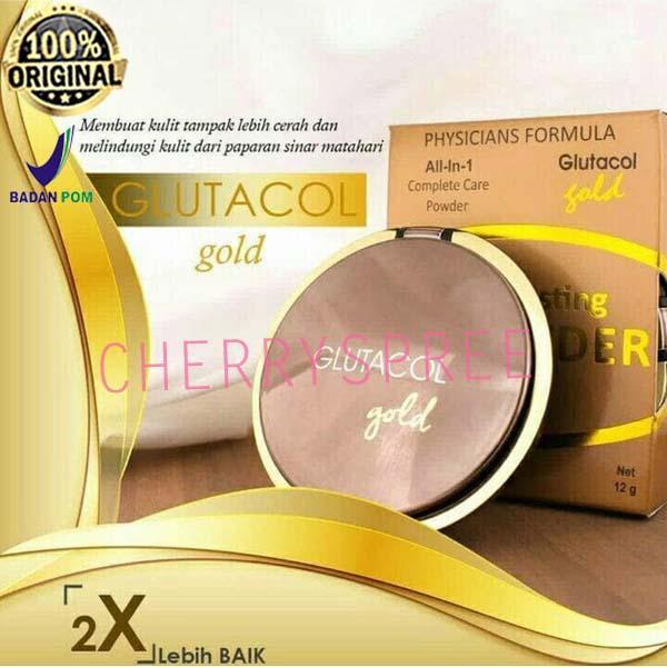 Glutacol Gold CC Powder Bedak Paling Awet dan Tahan Lama Bedak Padat Make Up Lebih Sempurna Original BPOM