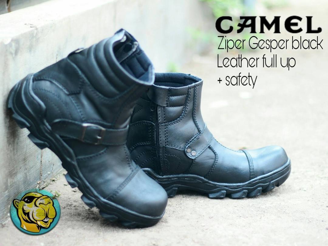 Camel Original - sepatu boots safety pria kulit zipper Hiking Kerja proyek bikers formal santai casual