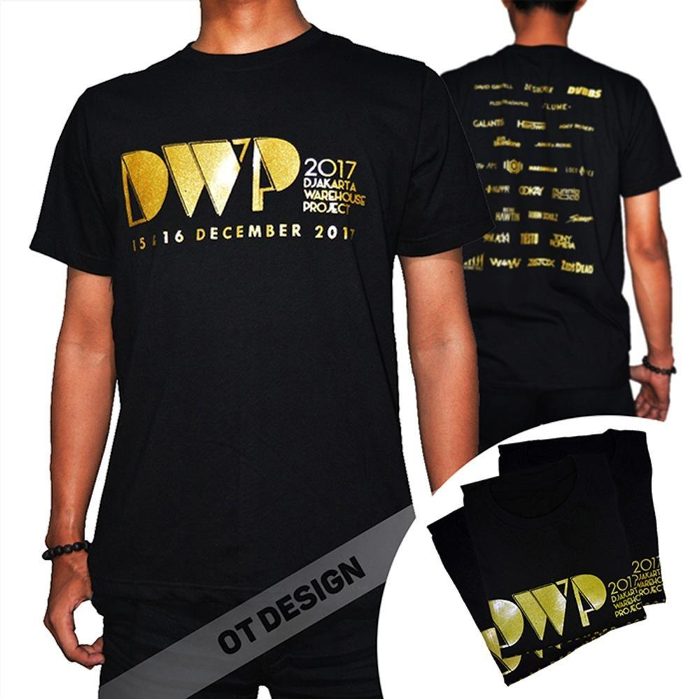 Kaos DWP 2017 Sablon GOLD Kaos Hitam Distro Djakarta Warehouse Project DJ EDM RAVE Party OTDESIGN