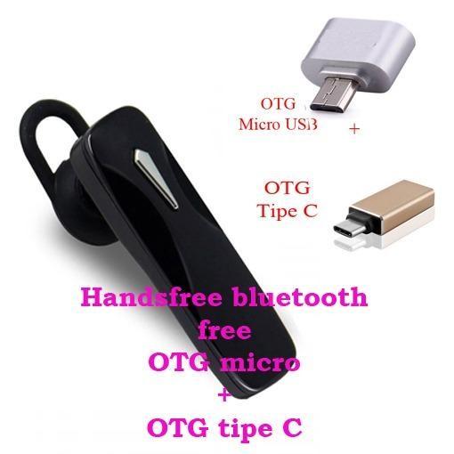 Handsfree Bluetooth+ OTG Mickro Usb+OTG Tipe C For Samsung Galaxy J2 / J7 Prime - Hitam