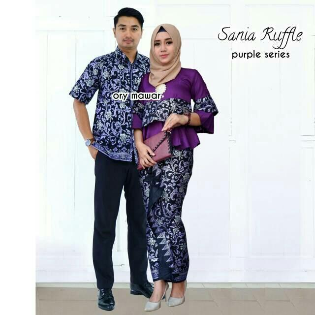 TERMURAH - Batik Couple / Couple Batik / Batik Sarimbit / Baju Batik Modern / Batik Kondangan / Baju Batik Sania Ungu