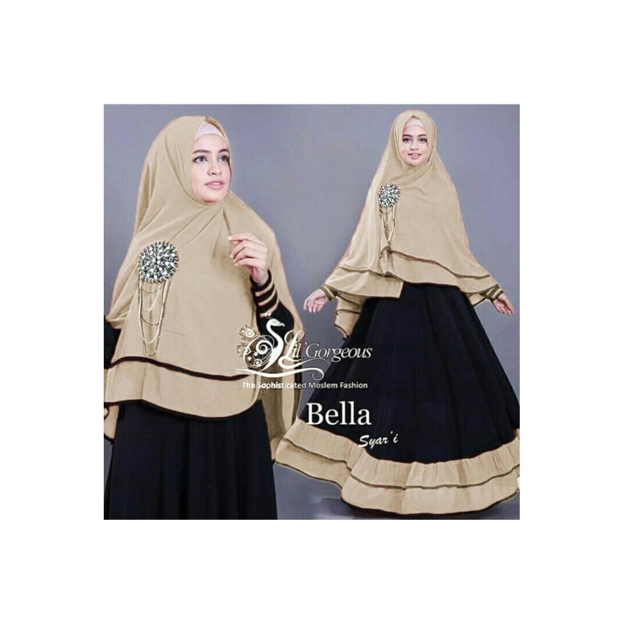 Vrichel Collection - Syari 2in1 Bella (hitam - Mocca) D Berkualitas