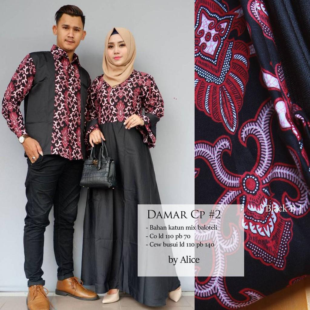 damar couple ori alice gamis muslimah setelan batik sarimbit katun mix balotelli baju pesta
