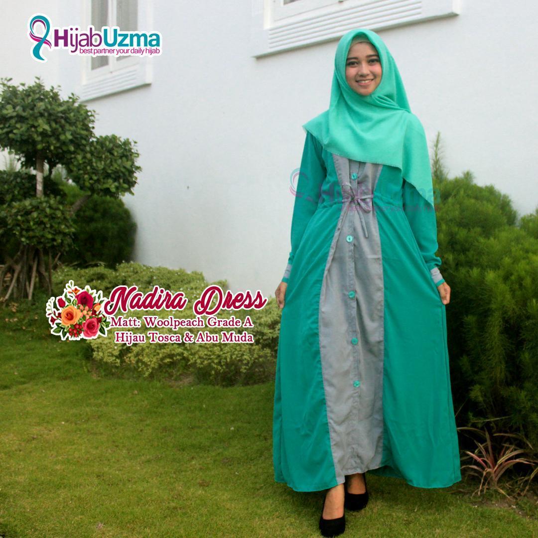 Gamis Wolfis Woolpeach Combinasi Full Kancing Nadira Dress Hijab Uzma Hijau Tosca & Abu Muda