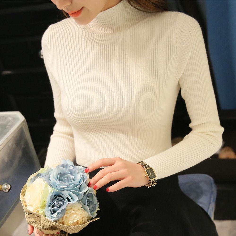 Musim gugur musim dingin model baru Gaya Korea model pendek kerah setengah  tinggi sweater perempuan Ketat 1cd4102474