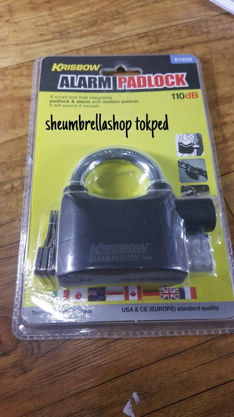 gembok alarm 110db krisbow dengan 3 kunci  padlock
