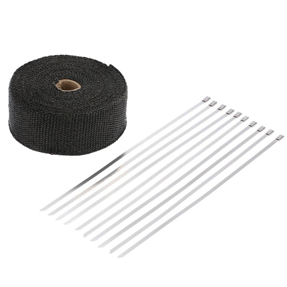 GOFT Motorcycle Exhaust Insulation Tape 10M*5CM Automobile Exhaust Heat Wrap Black