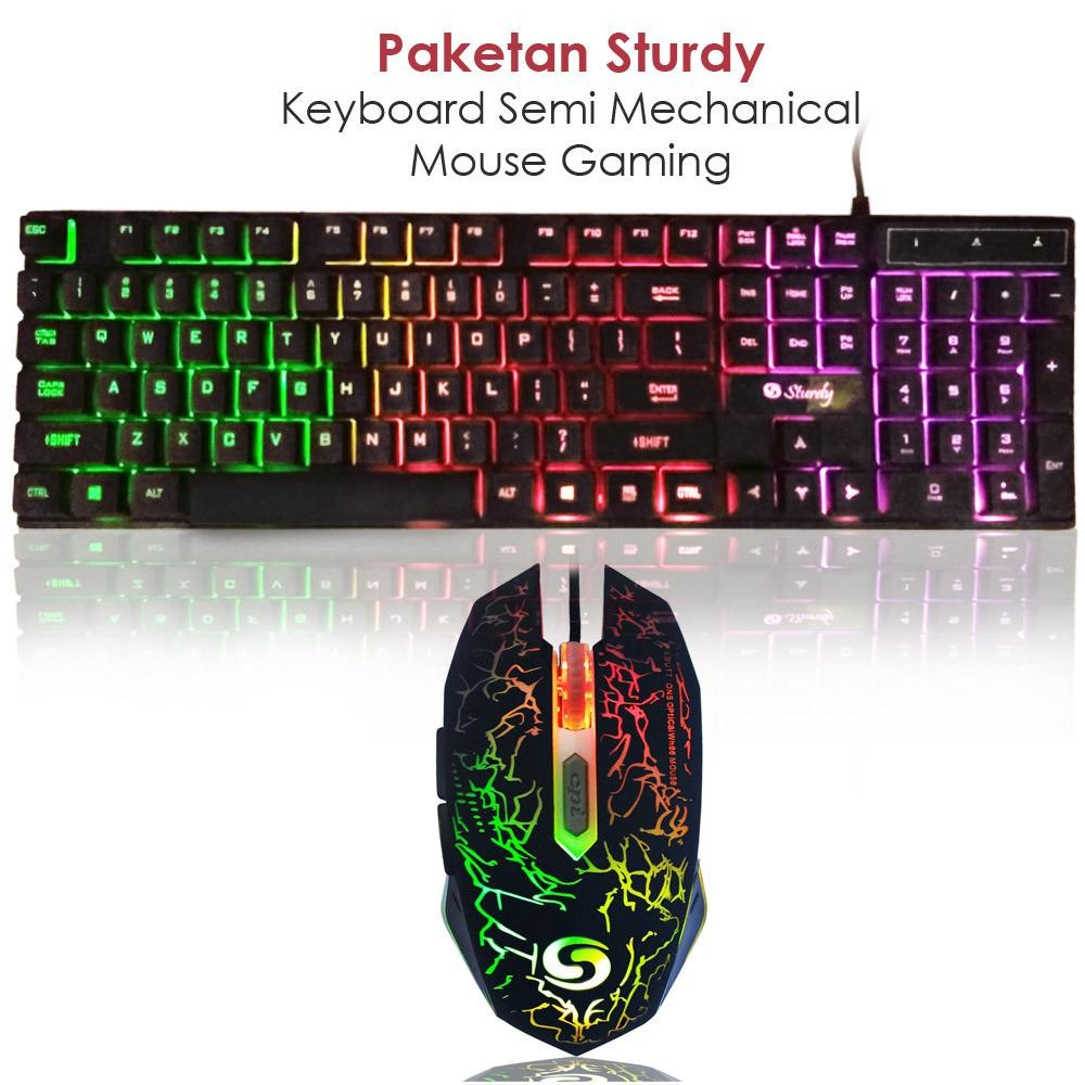 Sturdy Paketan TP822 Keyboard Semi Mechanical GM038 Mouse Gaming with LED - Hitam