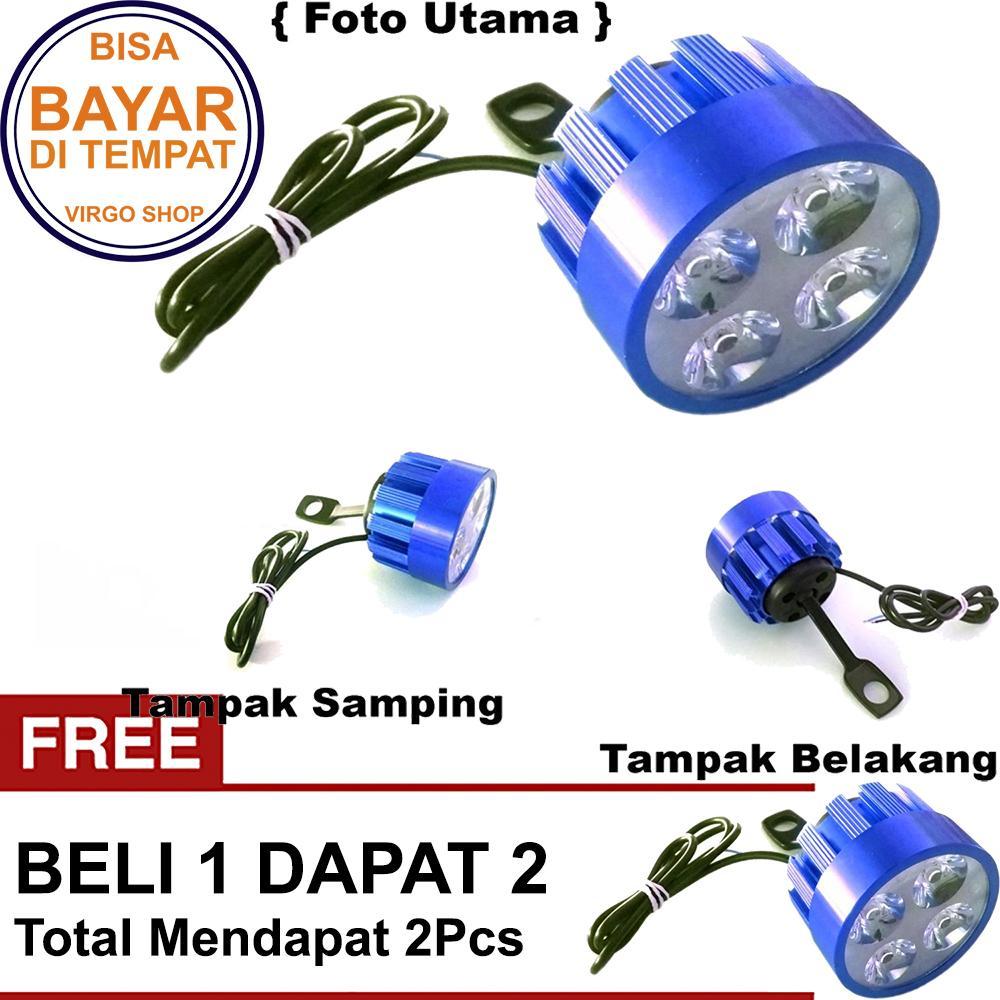 Beli 1 Dapat 2 Lampu Tembak LED 4 Mata Sorot Putih Model Baut di Spion - Biru