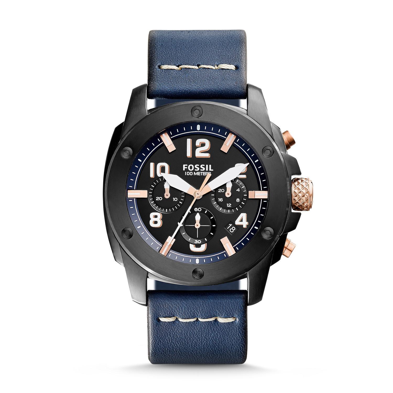 Jam Tangan Pria Fossil FS5066 Modern Machine Chronograph Navy Leather Watch