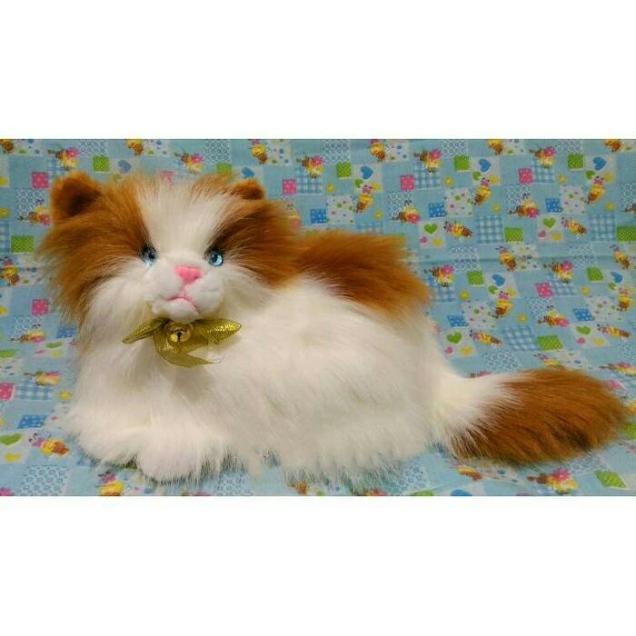 Boneka Kucing Anggora Lucu Putih Coklat