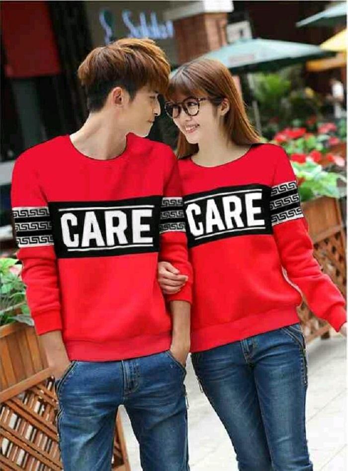 Couple Sweater Care Merah [Pakaian Couple 0119] QHI