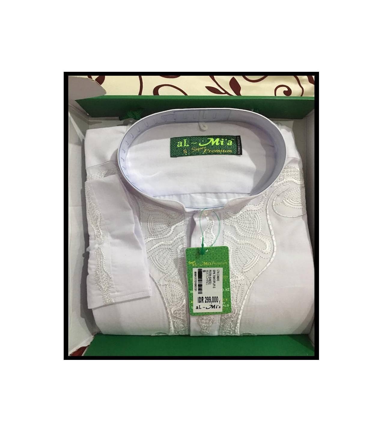 Baju Koko Al-Mia Super Premium Corak Putih Lengan Panjang Ukuran L 01