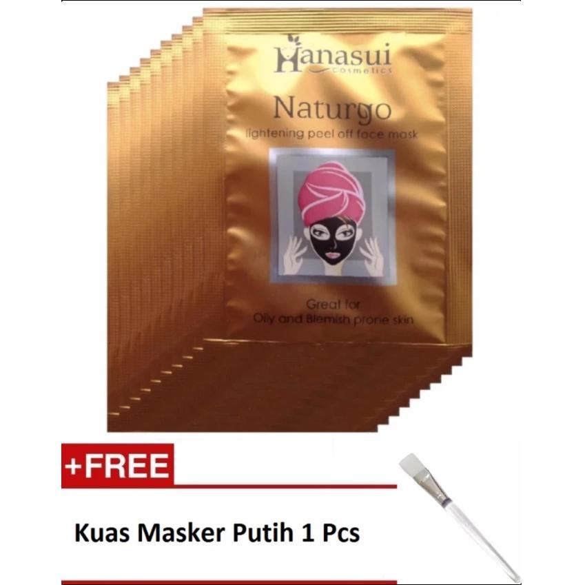 Hanasui Naturgo Masker Lumpur - 10 pcs + Gratis Kuas Masker Putih 1 Pcs