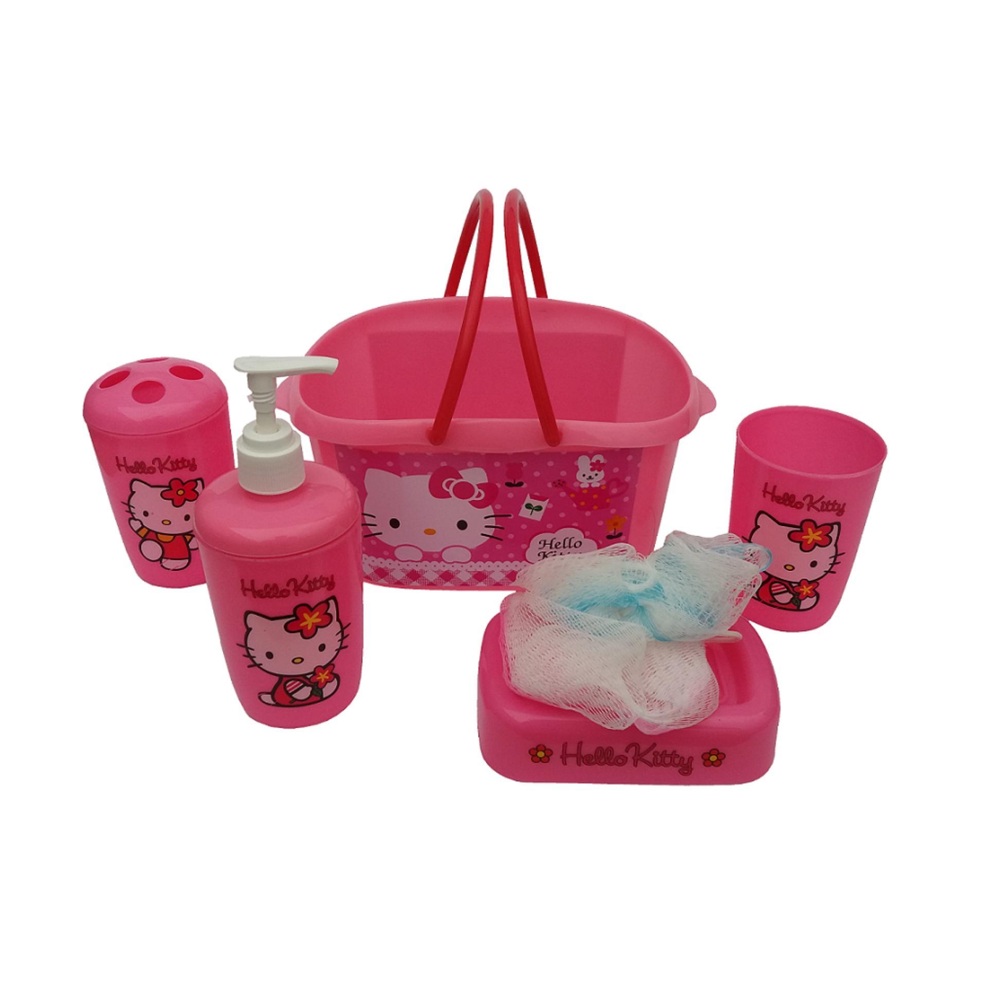 Hello Kitty Karakter Set Keranjang Perlengkapan Mandi