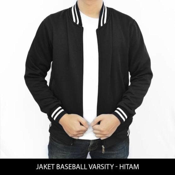 DISKON [HARGA GROSIR] Jaket Baseball Varsity Polos - Hitam TERMURAH