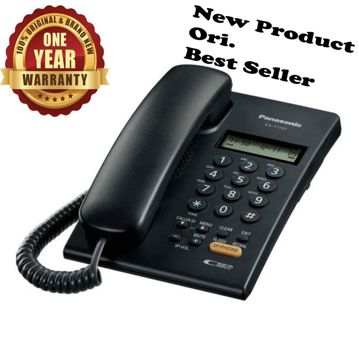 Panasonic Best Seller Murah KX-T7705 / T-7705 / T 7705 Telepon Kabel Rumah Kantor Hotel Telephone Single Line Bergaransi Resmi - Hitam