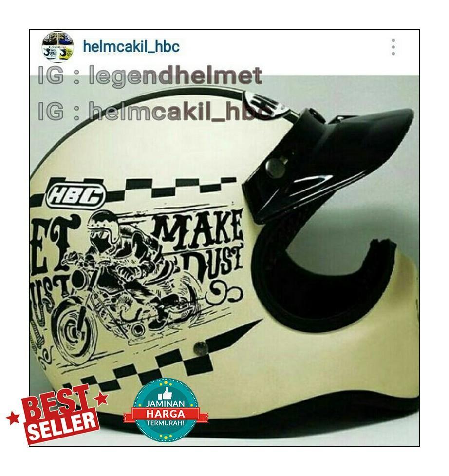 Helm Cakil Hbc Rust Dust Gading Motif Cream Size Ready S M L Xl Hitam Doff Emas Let Make