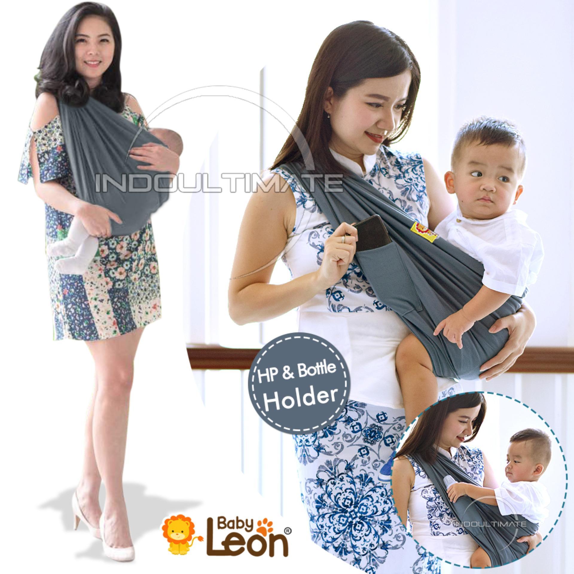 BABY LEON GENDONGAN Bayi Kaos/Geos/selendang Bayi Praktis BY 44 GB Polos Ukuran M - Dark Grey