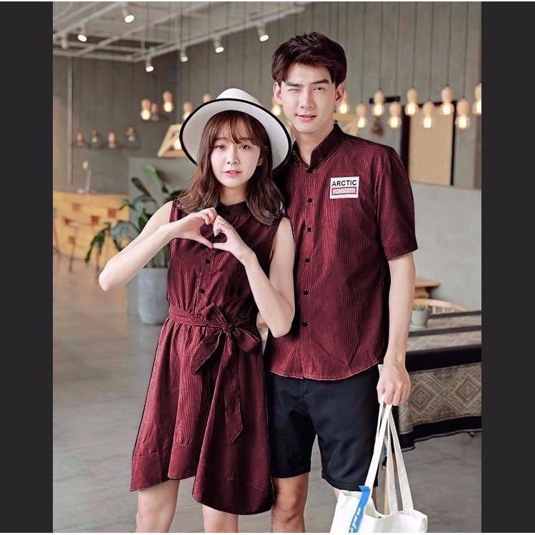 Jakarta Couple - Dress Couple Artic Maroon / Baju Couple / Dress Kapel / Kemeja Couple Murah