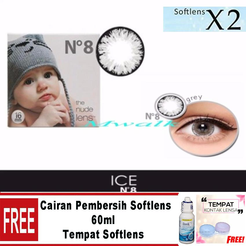 X2 Ice Nude N8 Softlens – Grey  Free Lenscase + Cairan 60 ml