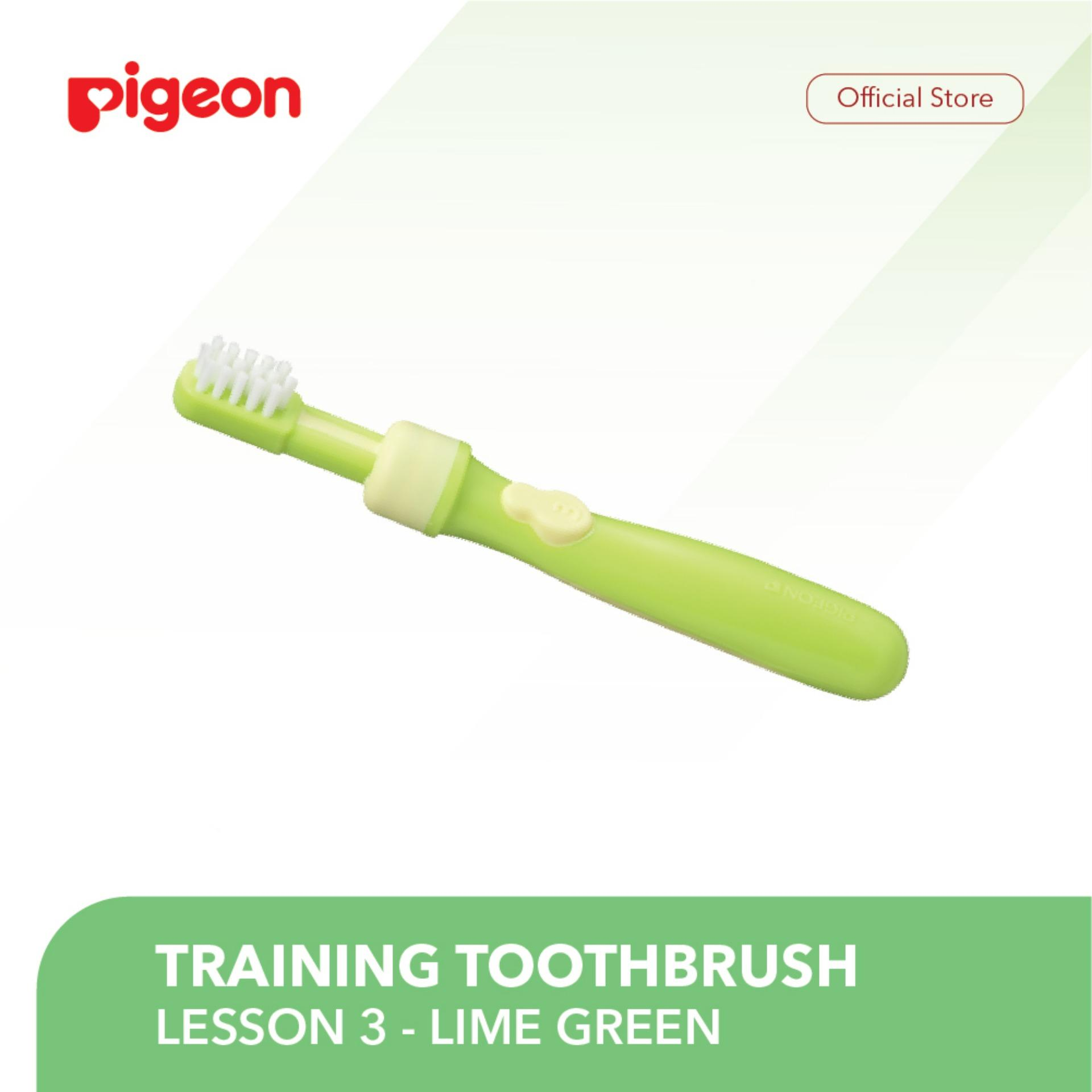 Pigeon Training Toothbrush Lesson-3 Lime Green / Sikat Gigi Bayi By Pigeon Indonesia.