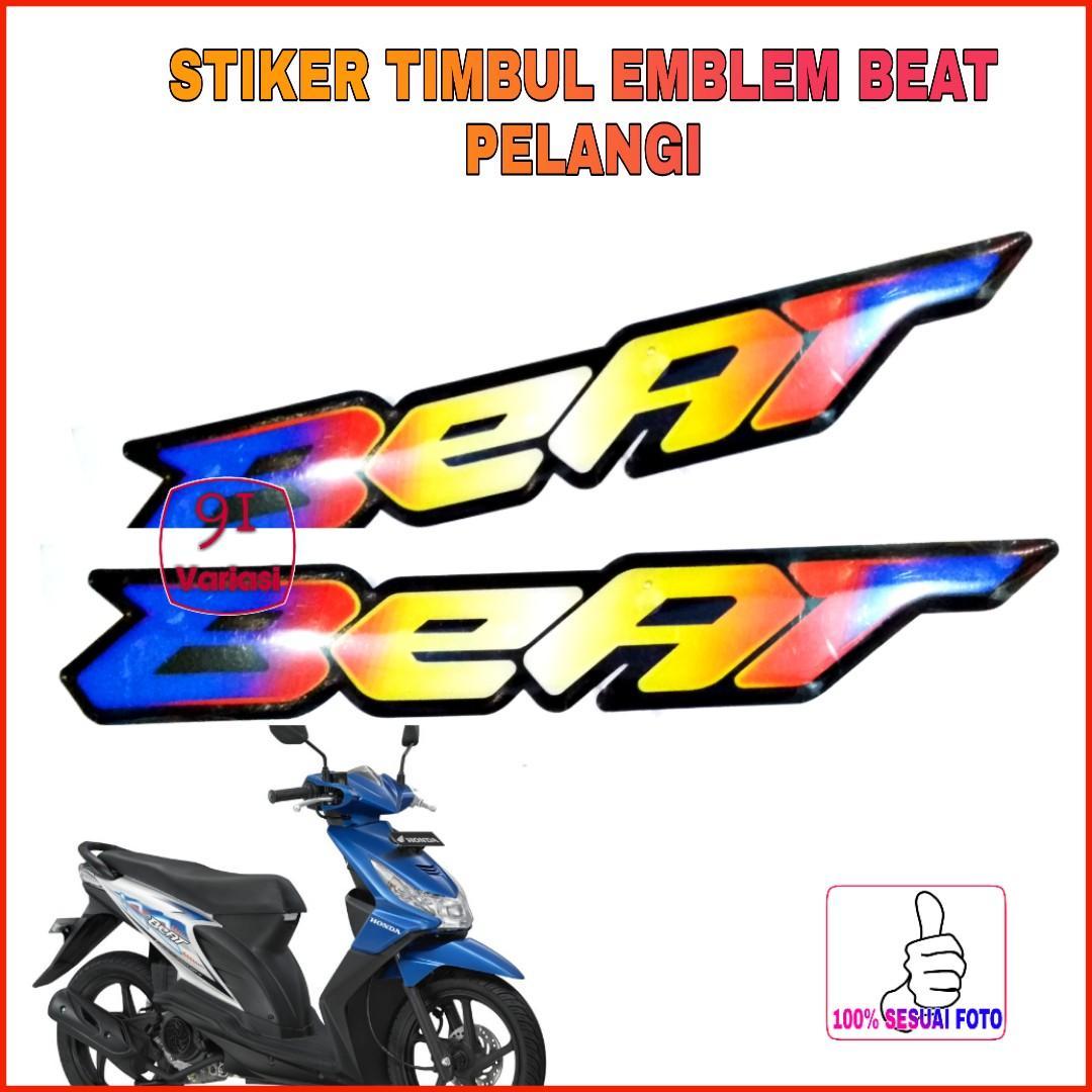 Stiker timbul Emblem Honda Beat 1 pasang PELANGI / 91 variasi