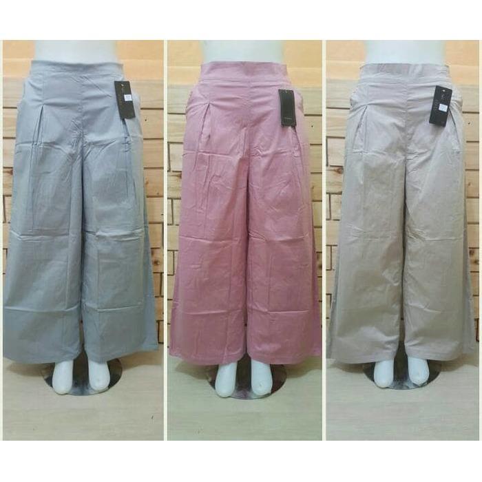 Celana Kulot Katun Stretch Polos/Kulot Jumbo/Celana Wanita