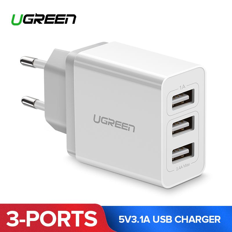 UGREEN Original Charger 3 Ports Fast Charger Dual Ports USB Handphone HP Fast Charger for Xiaomi Redmi Samsung iPhone 5V3.1A Travel USB Charger Universal Charger Wall Charger