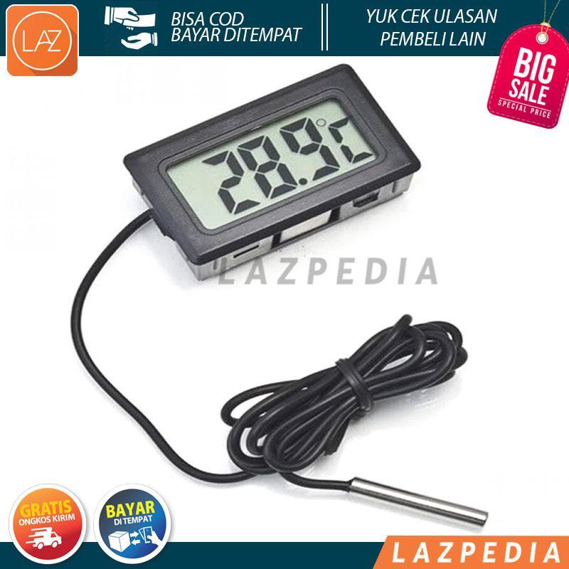 [a3] - Digital Thermometer With Probe For Aquarium Length 1m Termometer Alat Pengukur Suhu Air Akuarium Sensor Kabel Temperatur -50 Sampai 100 Derajat Celcius Tahan Lama Mudah Dibaca Lcd Display S8307 - White By Lazpedia.
