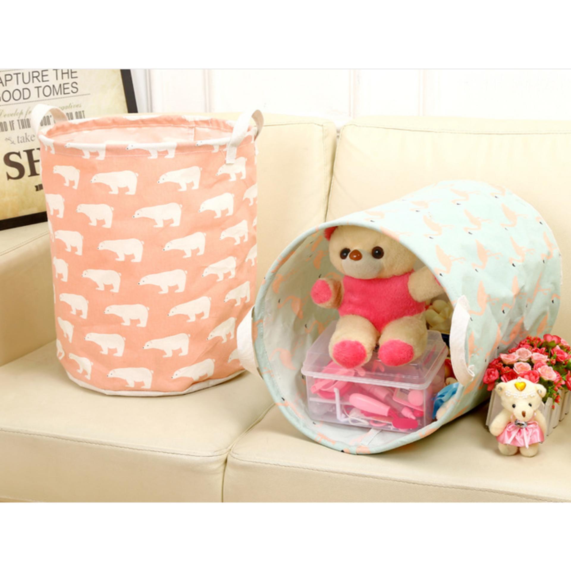 Keranjang penyimpanan keranjang pakaian bersih keranjang pakaian bayi 0026 Pink Bear