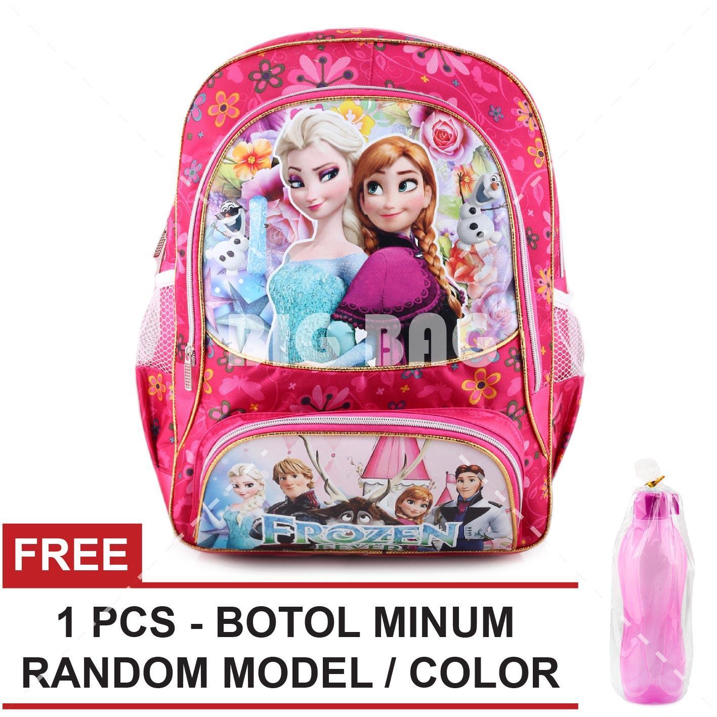 Tas Ransel Anak - Frozen Anna Elsa - True Love SW - School Bag Tas Sekolah Anak - PINK + FREE Botol Minum  Random Color / Model Tas Anak Tas Sekolah Tas Anak Karakter