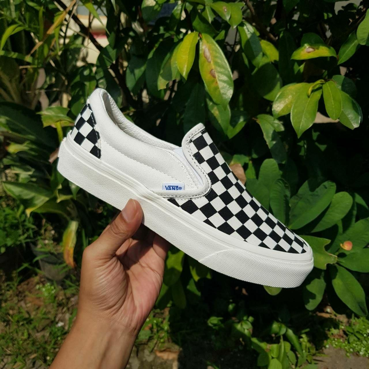 Promo Sepatu Vans OG Slipon Checkerboard Black white