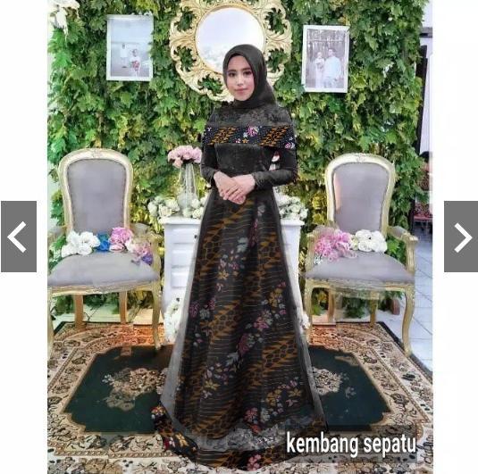 NusantaraHeritage Gamis Batik Pesta Premium Sabrina Brukat Fashion Baju Gaun Pesta Batik Party maxi long Dress Batik Kondangan Muslimah gamis Kebaya Batik pesta Modern Brokat Wisuda Muslim Wanita Terbaru Trendy keninian Mewah Elegan cantik ihbadriah