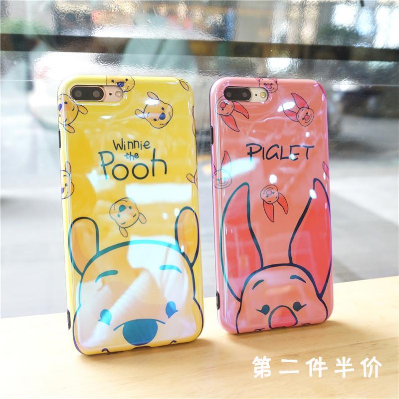 Kartun Winnie the Pooh Warna Merah Jambu kecil 6 S Casing HP laser blu-ray Apple ID X anti jatuh iPhone7/8 plus casing lunak