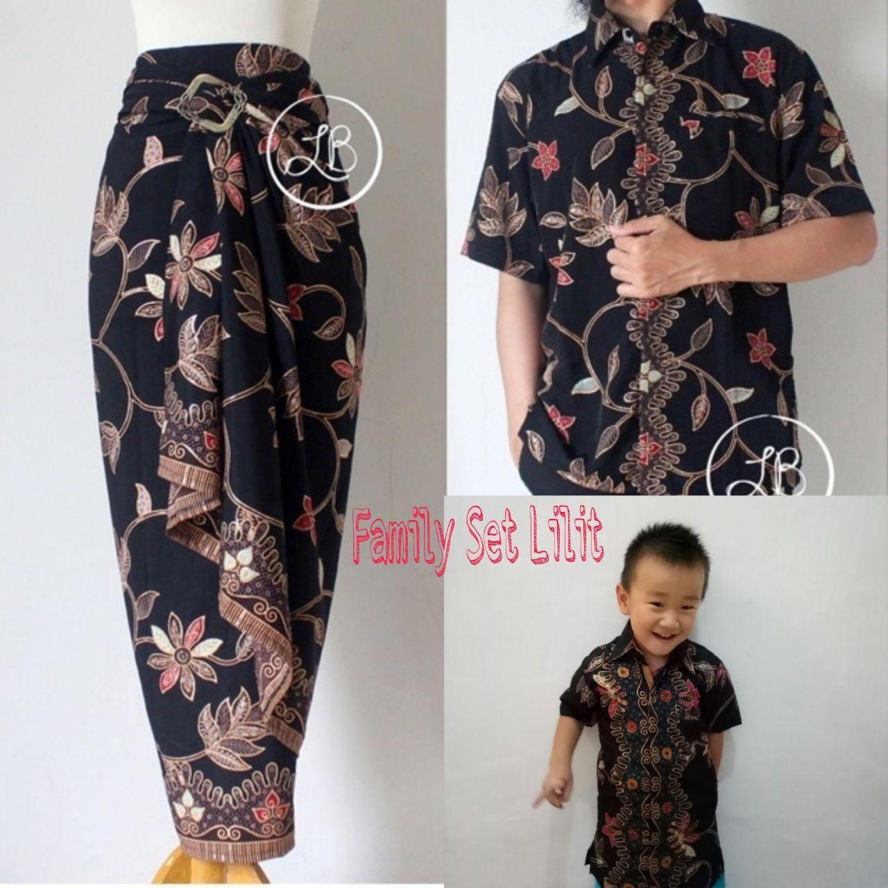 Cj collection Stelan couple batik family 3in1 baju batik dan rok lilit bapak dan anak atasan kemeja pria dewasa dan kemeja anak-anak dan rok lilit batik panjang wanita jumbo blouse blus shirt long skirt Yuna