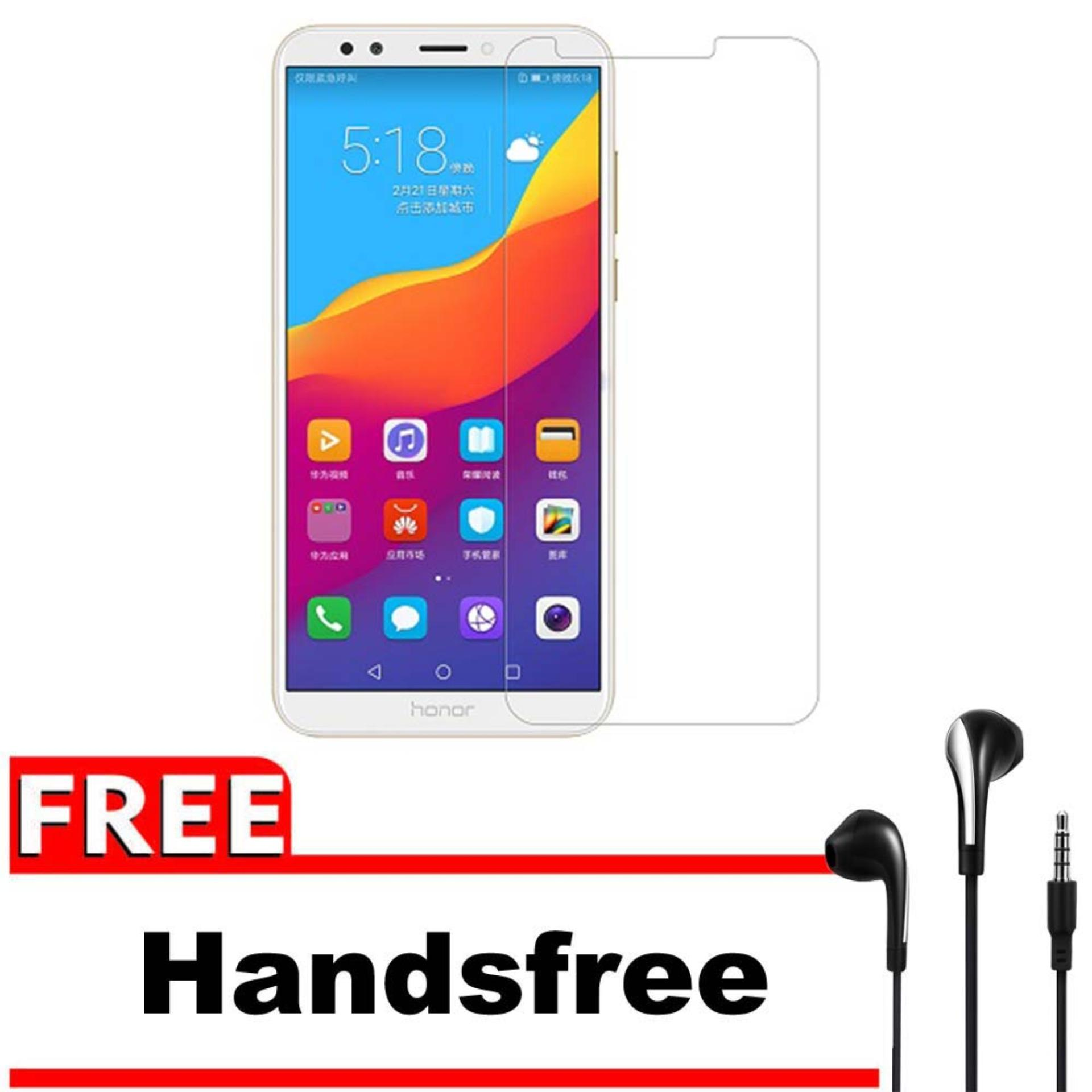 Vn Huawei Ascend Y7 Prime / Holly 4+ Plus / Enjoys 7+ Plus Tempered Glass 9H Screen Protector 0.32mm + Gratis Free Handsfree Earphone Headset Universal - Bening Transparan