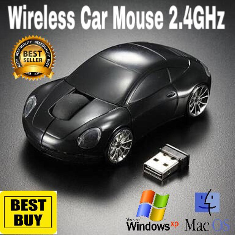 Wireless Car Mouse Mini Led Optical Mice 2.4Ghz 1600DPI 10m Colorful USB PORSCHE Car Shape Mouse PC Laptop Notebook BLACK di lapak AppShoppe appshoppe