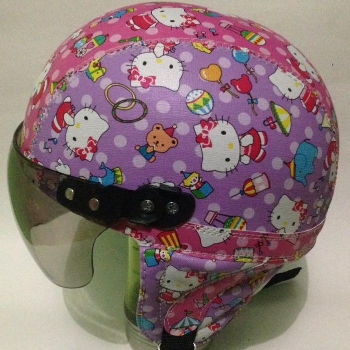 helm anak anak retro chip lucu hello kitty batik unggu usia 1 sampai 5 tahun
