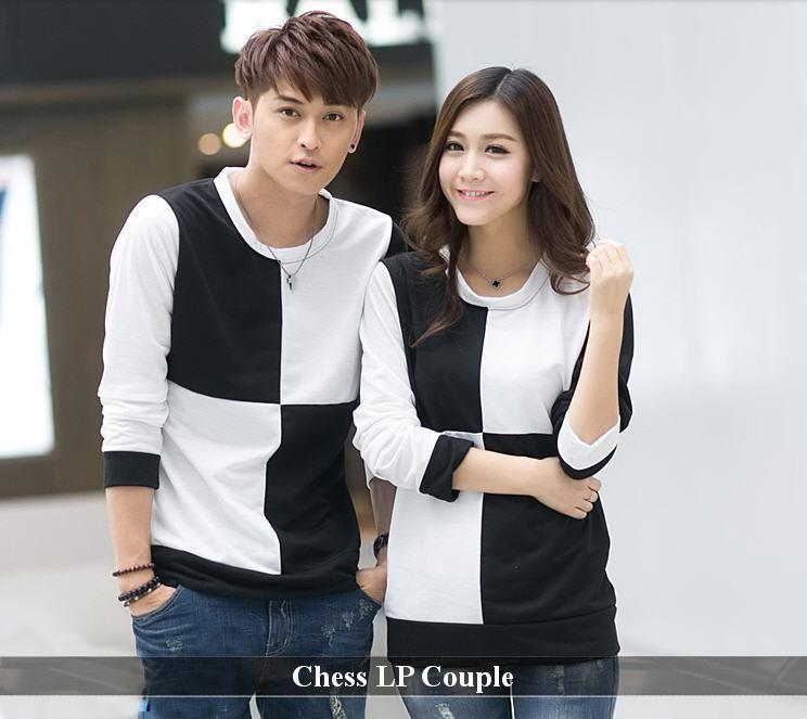 LenganPanjang Kaos Couple Lengan Panjang Keren Baju Kembaran Terbaru Chess Catur