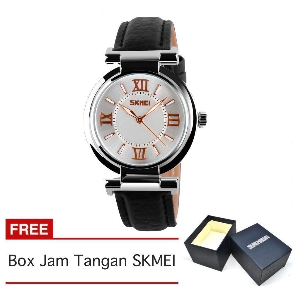 SKMEI - Jam Tangan Wanita - Strap Kulit - Hitam - 9075_Black_FREE Box