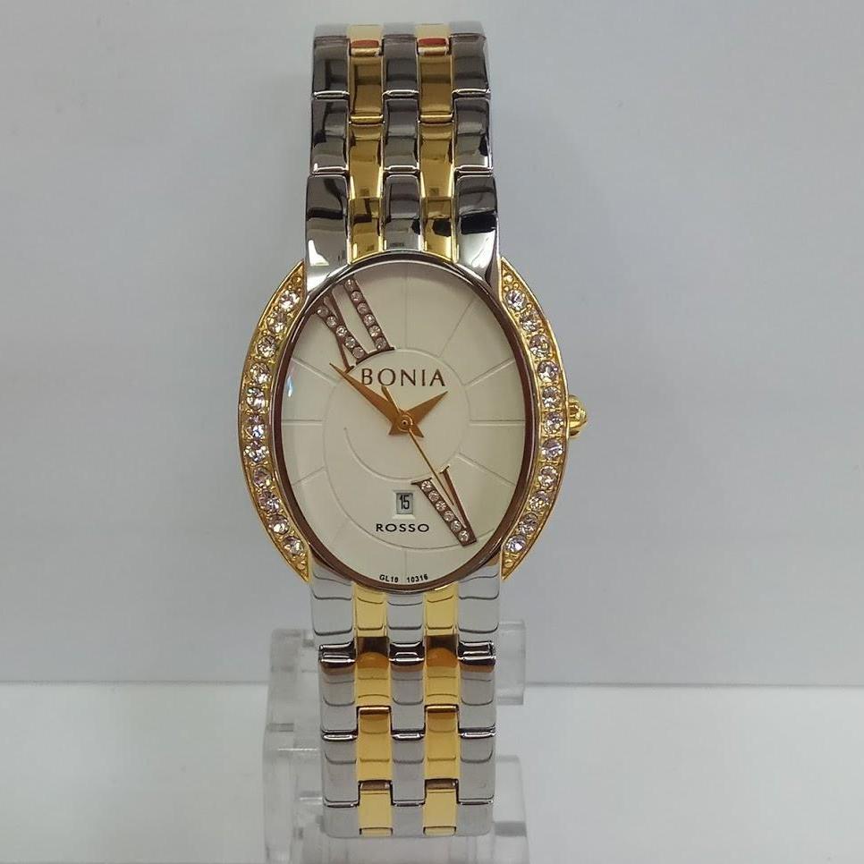Bonia Jam Tangan Pria Silver Putih Strap Hitam Bpt178 1313l Spec Original B10052 1532 Leather Brown Wanita Bnb10316 2113s Rosso Gold Stainless Steel