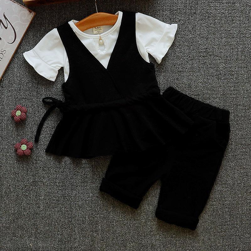 Set Korea Fashion Style Katun Gadis Musim Panas (Hitam)