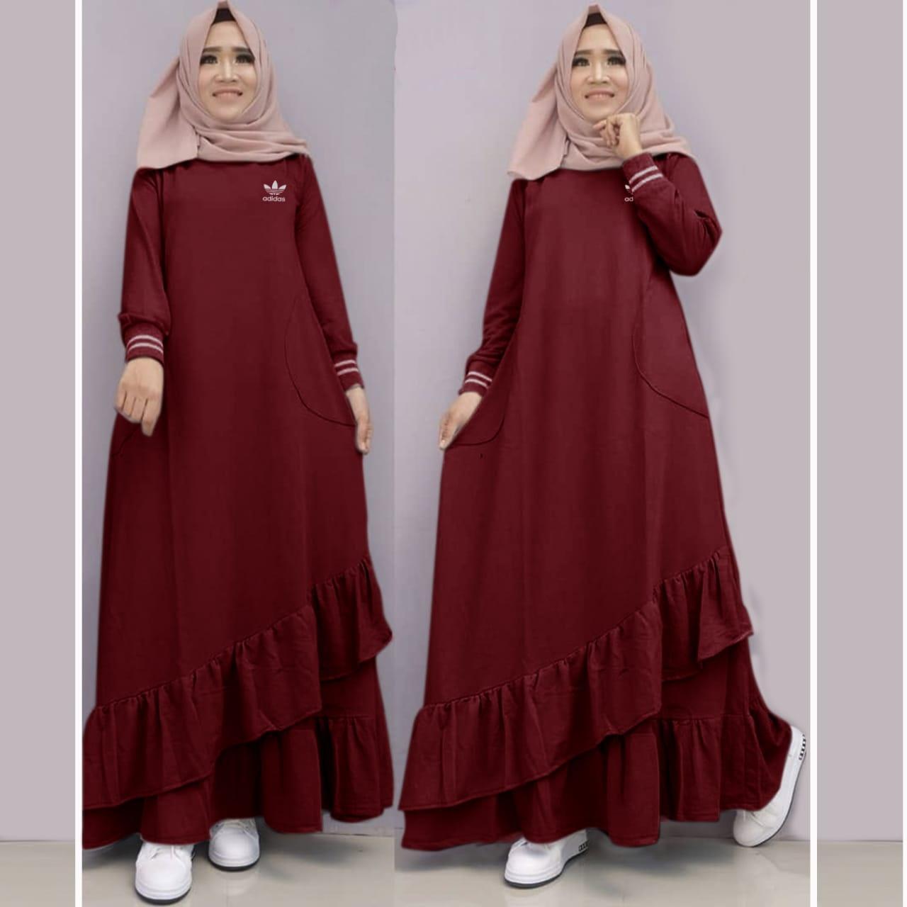 Gamis Hijab Dress Longdress Muslimah Fashion Wanita Pakaian Dress Wanita Catoon Combat ADIDAS_RDDK_Shop_nov_