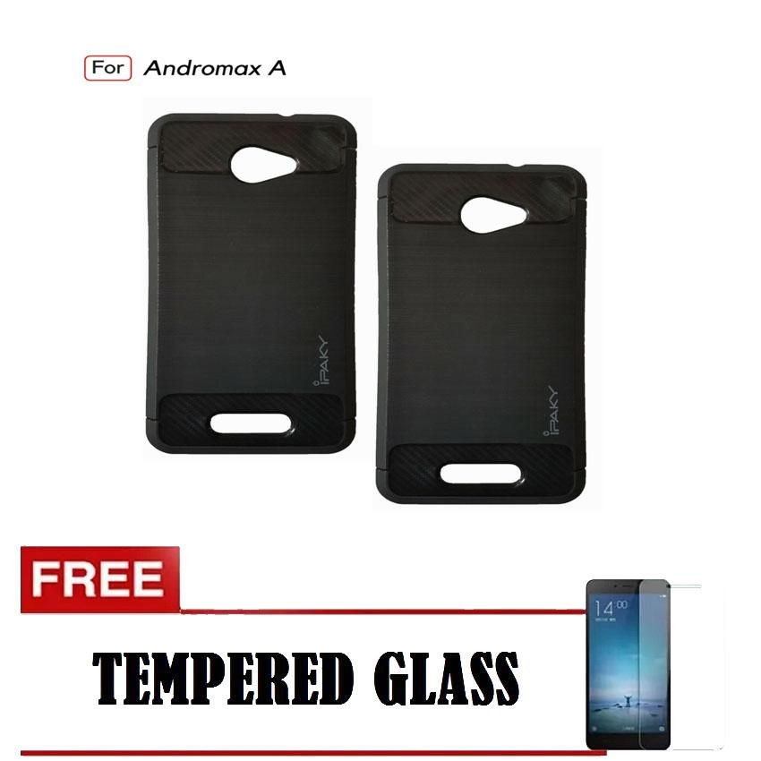 Kenzoe Premium Quality Carbon Shockproof Hybrid Case For Andromax A - Black FREE Tempered Glass